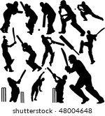 cricket players collection 1  ... | Shutterstock .eps vector #48004648