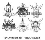 vector set of candle shop...