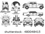 vector monochrome set of retro...