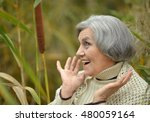 senior woman in  autumn park | Shutterstock . vector #480059164