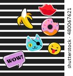 pop art fashion chic patches ... | Shutterstock .eps vector #480067621
