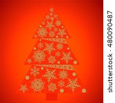 christmas tree with snowflakes. ...   Shutterstock .eps vector #480090487