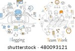 concept blogging and team work... | Shutterstock .eps vector #480093121