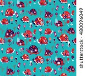 seamless pattern with cute... | Shutterstock .eps vector #480096049