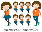 girl with short hair in... | Shutterstock .eps vector #480099064