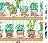 cactus and succulent collection ... | Shutterstock . vector #480107071