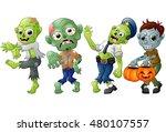zombie cartoon halloween... | Shutterstock . vector #480107557