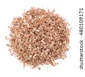 Wood Sawdust On White Background