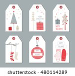 christmas gift tags set. vector ... | Shutterstock .eps vector #480114289