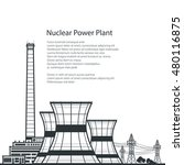 silhouette nuclear power plant  ...   Shutterstock .eps vector #480116875