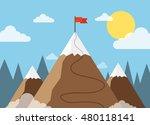 red flag on a mountain peak.... | Shutterstock .eps vector #480118141