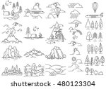 nature line icon landscapes... | Shutterstock . vector #480123304