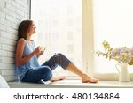 thoughtful and dreaming girl... | Shutterstock . vector #480134884