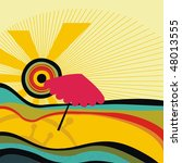 sunny beach with umbrella | Shutterstock .eps vector #48013555