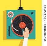 turntable with dj hands. vector ... | Shutterstock .eps vector #480172489