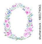floral wreath with roses... | Shutterstock . vector #480174061