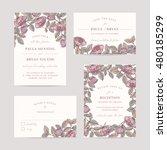 hand drawn rose garden wedding... | Shutterstock .eps vector #480185299
