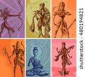 indian god and goddess...   Shutterstock .eps vector #480194821