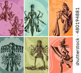 indian god and goddess... | Shutterstock .eps vector #480194881