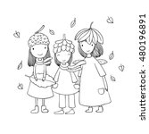three small forest fairies in... | Shutterstock .eps vector #480196891
