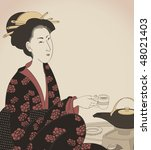 Detail Of A Woman Drinking Tea...