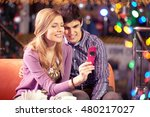 girl taking photo with her... | Shutterstock . vector #480217027