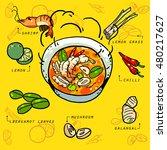 asian thai food  ingredients in ... | Shutterstock .eps vector #480217627