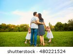 the concept of a happy family.... | Shutterstock . vector #480221524