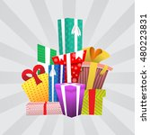 big pile of colorful wrapped... | Shutterstock .eps vector #480223831