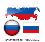 Russia  Russian Flag  Map And...