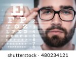 male face and eye chart.... | Shutterstock . vector #480234121