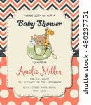 beautiful baby girl shower card ... | Shutterstock .eps vector #480237751