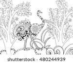 zentangle stylized ostrish in... | Shutterstock .eps vector #480244939