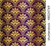 Gold On Purple Seamless Peacock ...