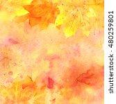 watercolor autumn background.... | Shutterstock . vector #480259801