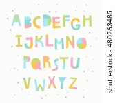 multicolored paper cut alphabet ... | Shutterstock .eps vector #480263485