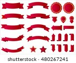 ribbon vector icon set red... | Shutterstock .eps vector #480267241