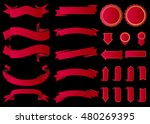 ribbon vector icon red color on ... | Shutterstock .eps vector #480269395