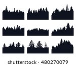 set of forest silhouettes | Shutterstock .eps vector #480270079