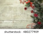 snowy table. festive christmas... | Shutterstock . vector #480277909