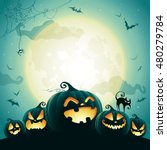 Stock vector halloween pumpkins under the moonlight 480279784