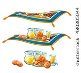 flying carpet with food and... | Shutterstock .eps vector #480305044