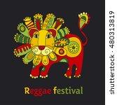 folk style shabby lion...   Shutterstock .eps vector #480313819