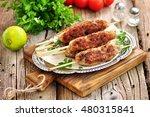 Home Kebab On Skewers On The...