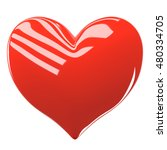 red glossy heart isolated on... | Shutterstock . vector #480334705