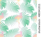 seamless pattern with flamingos ... | Shutterstock .eps vector #480341311