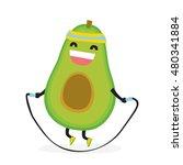 cute kawaii fitness avocado... | Shutterstock .eps vector #480341884