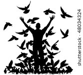 Silhouette Of A Man And Flock...