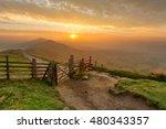 golden sunrise at mam tor in... | Shutterstock . vector #480343357