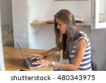 typing on laptop | Shutterstock . vector #480343975
